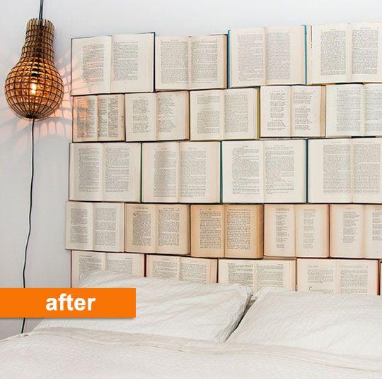 No tires los libros antiguos, reutilizalos para crear un nuevo cabezal a tu cama!