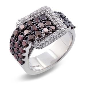 #Malakan #Jewelry - Platinum-Silver Treated Red Diamond Belt Ring 78417D1T #Fashion #FashionRings #WomensFashion