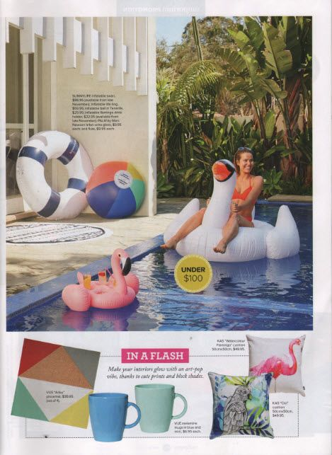 Our KAS 'watercolour flamingo' and 'Cici' cushions featured on the @Myer Emporium magazine #loveKas