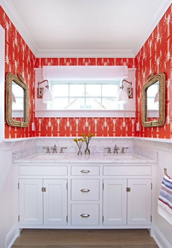 Bay Head Beach Bungalow || Red Patterned Wallpaper & White Paneling || Chango & Co.