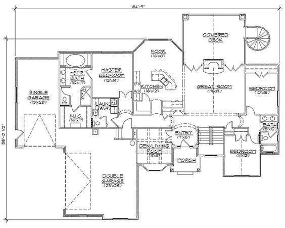 House floor plans rambler house plans and rambler house for Rambler house plans with basement