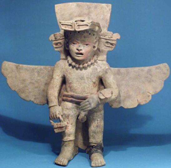 Antigua deidad alada mesoamericana con una especie de gafas y una cesta que recuerda a la que portaban los Anunnaki Leer más: https://el-libertario.webnode.es/nuestros-antiguos-instructores/
