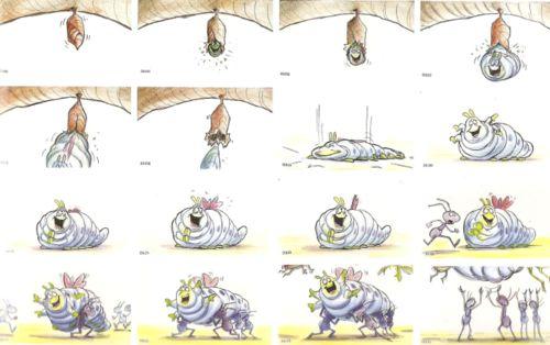 "Story board ""Bichos"" Pixar"