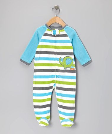 Take a look at this Turquoise & Lime Stripe Elephant Footie - Infant by Little Me on #zulily today!