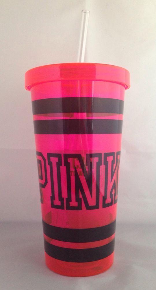 Pink by Victoria's Secret Pink Water Bottle Tumbler Black Letters GENUINE New #VictoriasSecret #pink #tumbler