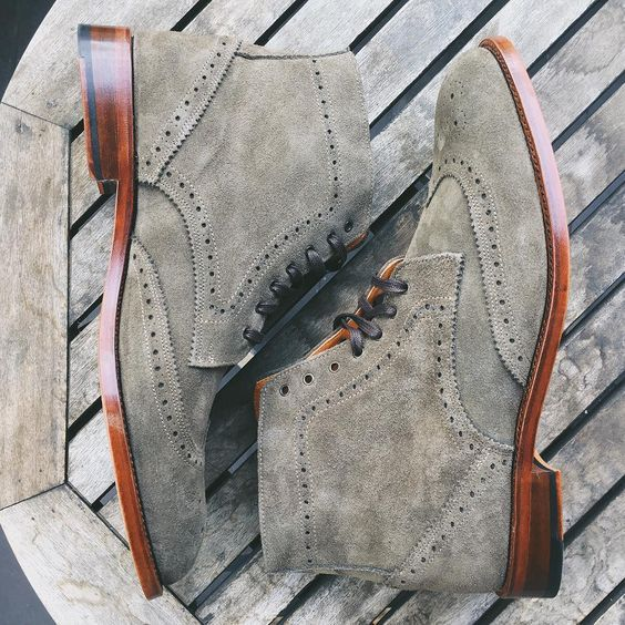 Suede Brogue Boots - Oh my word!