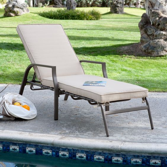 Coral Coast Bellagio Chaise Lounge with Cushion - Outdoor Chaise Lounges at Hayneedle  $209 with free s/h