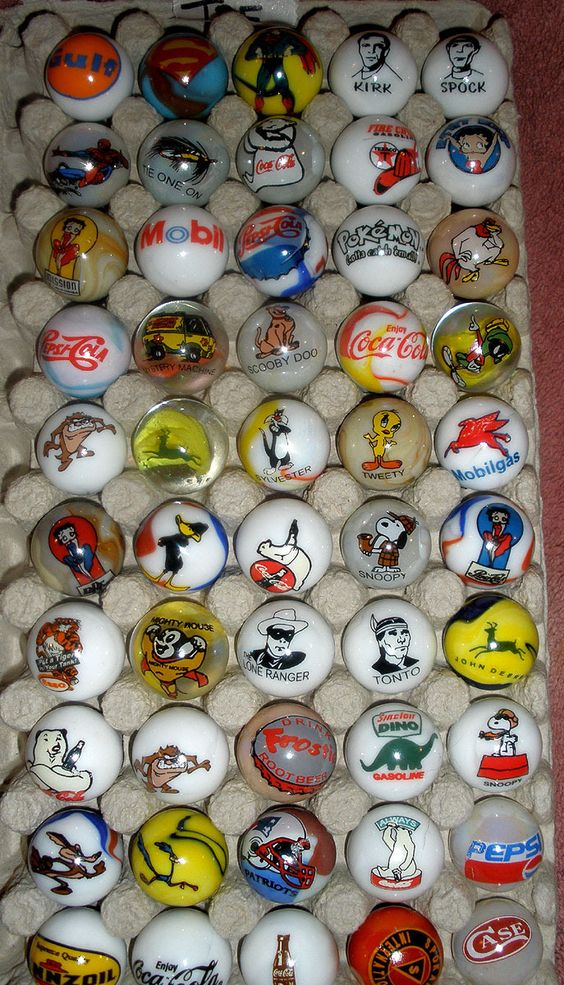 LOGO type 1 inch (Whopper) marbles.. check out, there is Coca Cola, Tweety Bird, Scooby Doo...