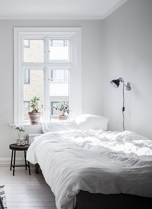 White Living Space Via Coco Lapine Design Small Apartment Bedrooms Small Bedroom Ideas On A Budget Remodel Bedroom