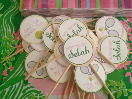 Girl Tennis Birthday Party- personalized cupcake toppers (party circles) by APartyStudio on Etsy, only $10.00