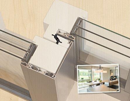 """""""Windstark, ein kleines aber wirkungsstarkes Detail im Aufbau der Baufritz-Hebe-Schiebe-Türen, welches durch eine spezielle Übergreiftechnik  zwischen den Schiebeelementen für maximale Dichtigkeit sorgt"""