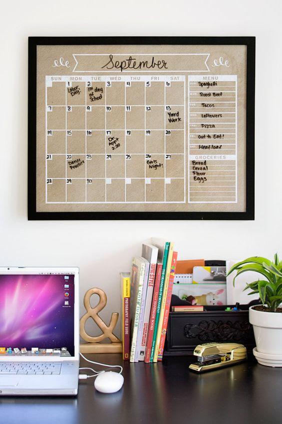 Kraft Calendar -Horizontal - Family Planner-  Wall Calendar- Blank Calendar Print - Poster Size- Dry Erase Calendar