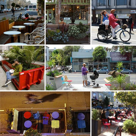 bikes, creative public seating, and flower boxes, all part of Parklets.