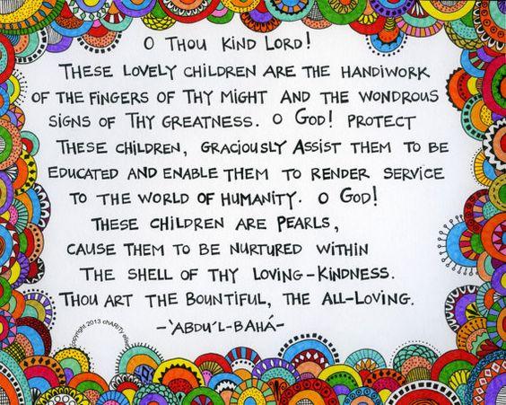 Bahai Prayer for children Fine Art Print SoulThe Baha