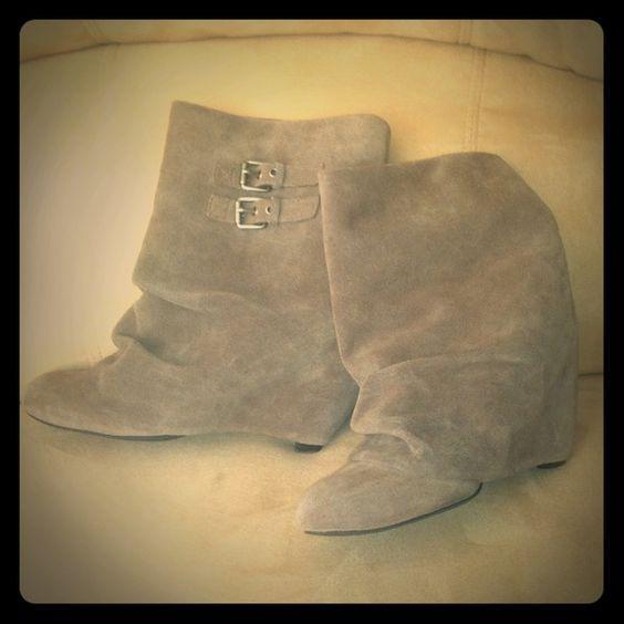 Fold-Over Beige Buckled Booties BP (Brass Plum) Suede Beige Booties bp Shoes Ankle Boots & Booties