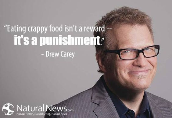 Go Drew! Looking healthier these days and talkin' my language. Does your body feel punished after eating crappy food? -Bex