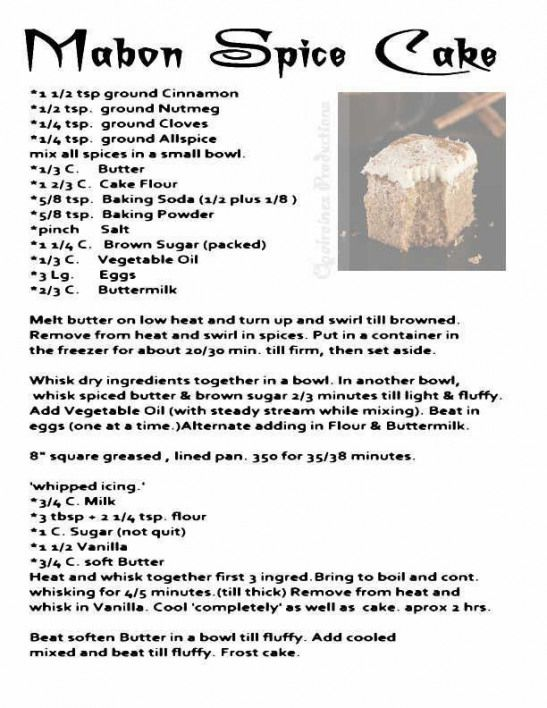 Mabon Spice Cake Word Of Another Source My Opalraines Production Foodanddrinkbook Food And Drink Book Kitchen Witch Recipes Wicca Recipes Mabon