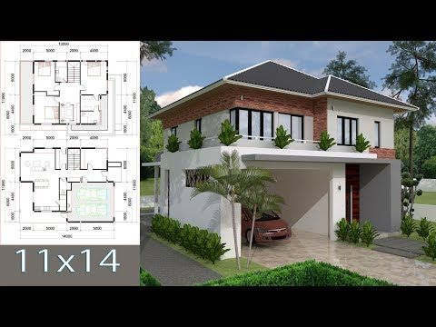 Sketchup Villa Design 11x13m Two Stories House With 3 Bedroom Youtube In 2020 Villa Design Modern Style House Plans House Design Pictures