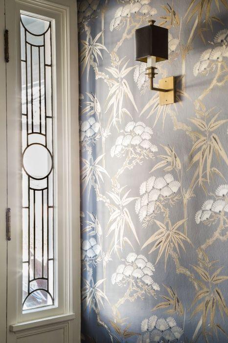 Vestibule - Entry - Foyer - Wallcovering - Wallpaper - Asian - Bamboo - Leaded Window - Stainglass Window - Square Sconce - Light Fixture - Gold - Black - Silver - Cream