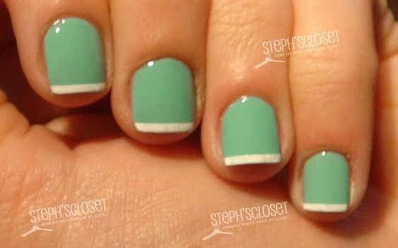 My new favorite color in my nail polish collection.: Nails Nails, Cute Nails, French Manicures, Nail Designs, Foam Nails, French Nails, Green French, Green Nails