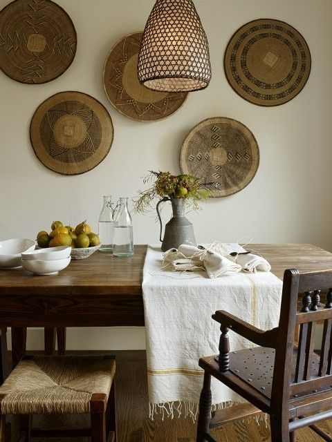 rustic woven wall decor + basket weave lampshade.