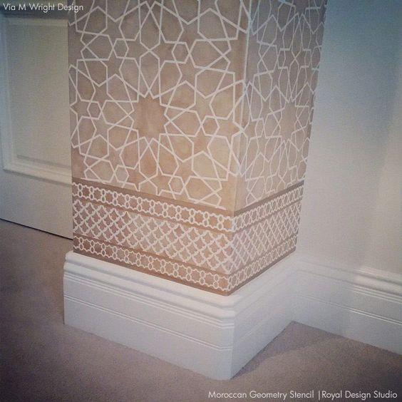 Lacy Moroccan wall stencil in neutral colors for a subtle finish. Moroccan Stencils | Moroccan Geometry Stencil | Royal Design Studio