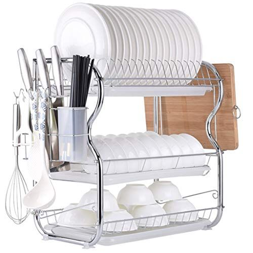 Multifunctional 3 Tier Dish Drying Rack Stainless Steel Kitchen