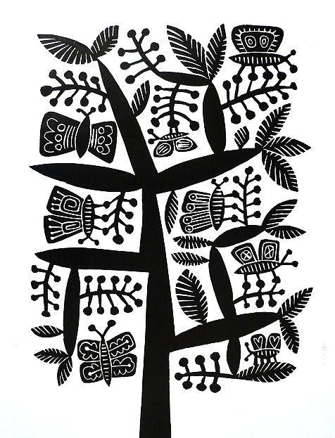 Butterflies  .  Artist:  Hilke MacIntyre  .  Medium:  linocut, edition of 50  .  Size  size: paper 24 x 30 cm
