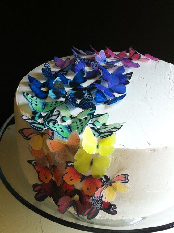 EDIBLE Butterflies! A dab of frosting or corn syrup makes them stick to most foods (or wine glasses). Made of wafer paper (potato starch, vegetable oil, water), food color and vanilla.