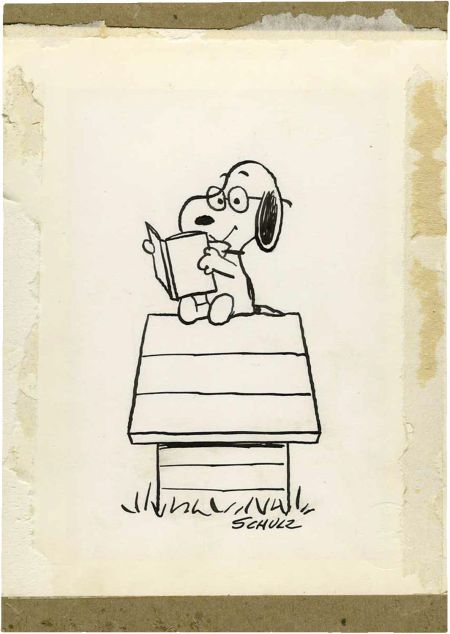 Original art by Charles Schultz for the front piece illustration of A Peanuts Treasury, circa 1968 (sold at auction)