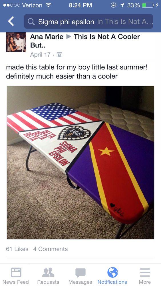 Beer pong table American flag SPE skull heart sigma phi epsilon sigep