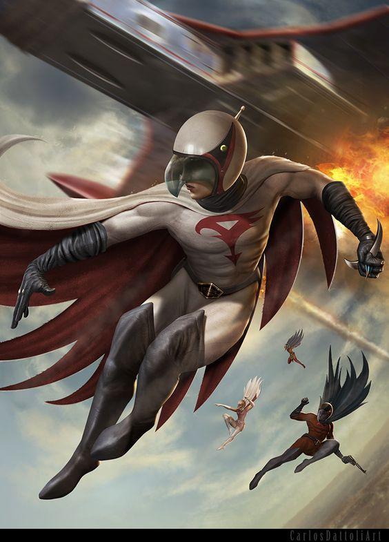 空を飛ぶ大鷲の健のかっこいい画像。
