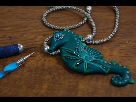 Pretty Seahorse Pendant polymer clay tutorial …
