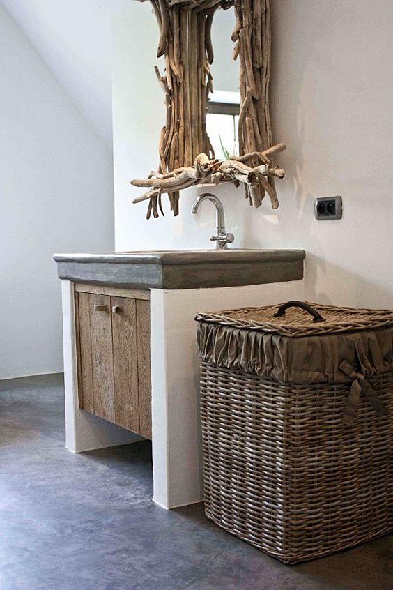 Wastafel wood betonlook wasruimte bijkeuken laundry pinterest ballerina 39 s - Stenen wastafel ...