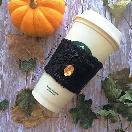 Halloween Sparkle Coffee Sleeve Koozie Stubby by PrettyLilMonster