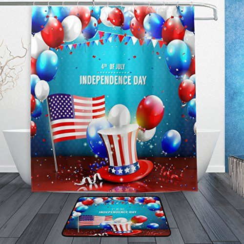 Alaza S American Flag 4th Of July Shower Curtain Holiday Shower