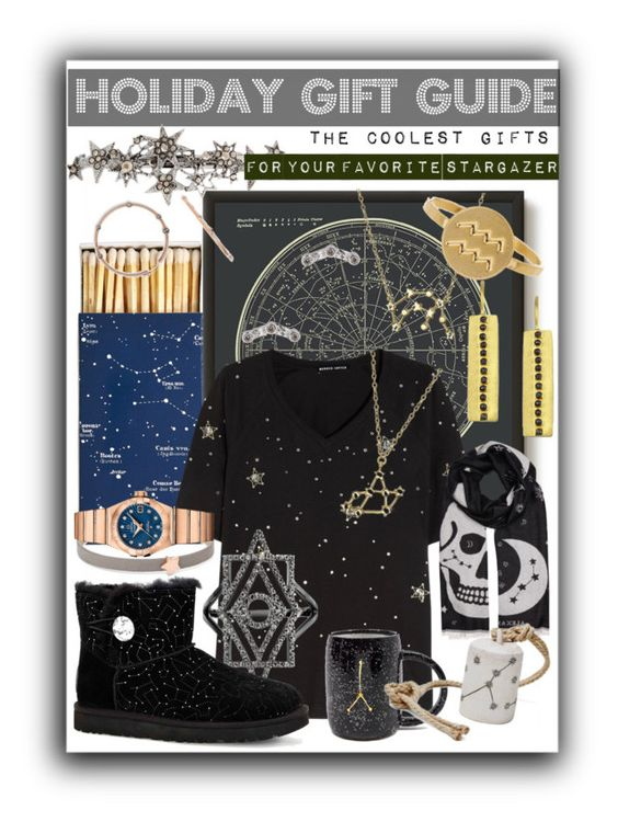 """""""Holiday Gift Guide: For The Stargazer"""" by alrdesign ❤ liked on Polyvore featuring Bling Jewelry, Kris Nations, Jayson Home, Markus Lupfer, FOSSIL, OMEGA, Fallon, Alexander McQueen, UGG Australia and MQuan"""