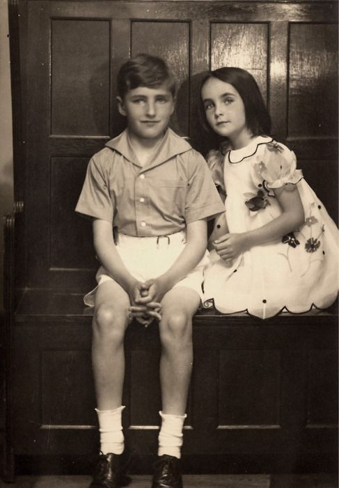 Elizabeth Taylor with her brother, 1930s.: