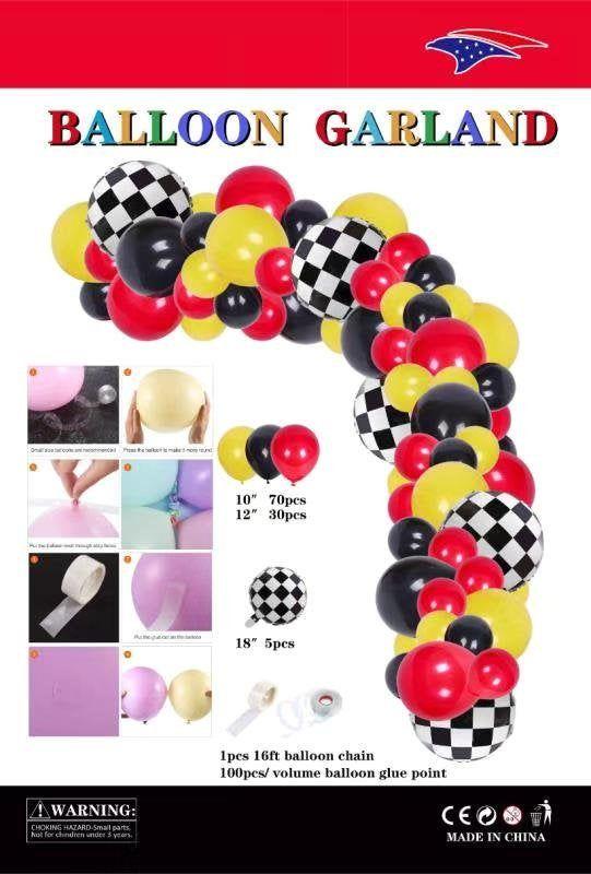 100PC Cars Table Balloon Arch Kit Balloon Garland Birthday Baby Shower Race Car