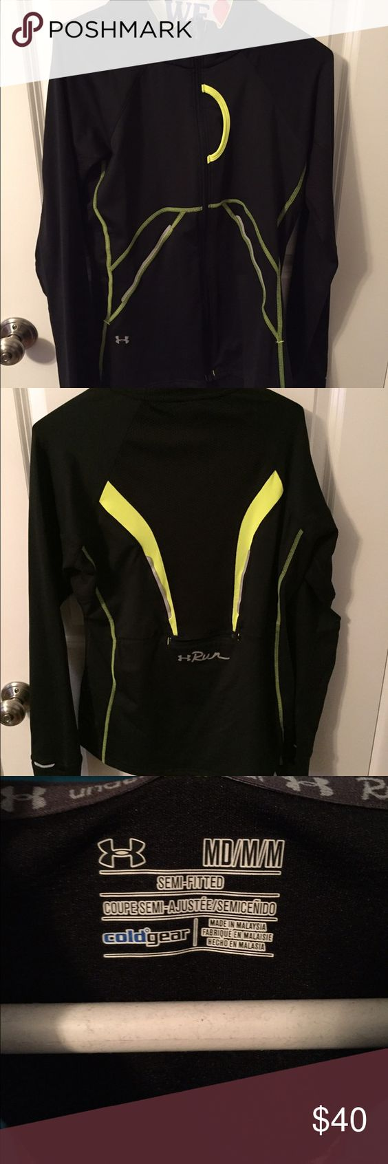 Under armour run series full zip jacket Black and neon green full zip under armour jacket. Worn once! Under Armour Jackets & Coats Utility Jackets