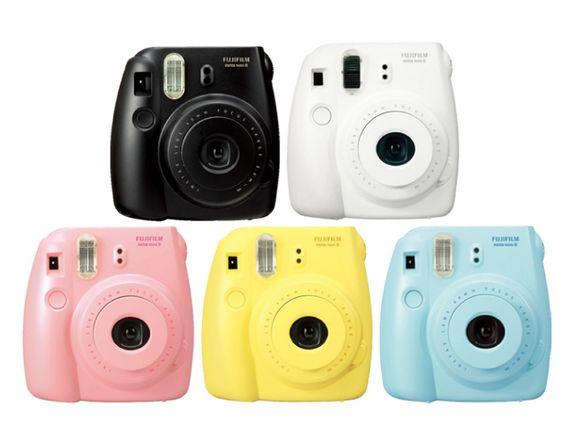 Fuji Instax Mini 8 film camera. Available in white, pink, blue ...