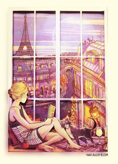 Image result for reading in parisian window