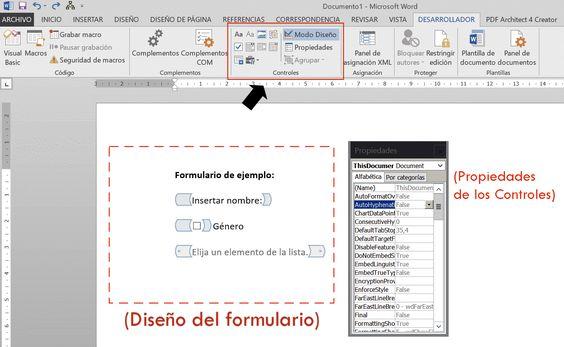 Diseño del formulario de Word
