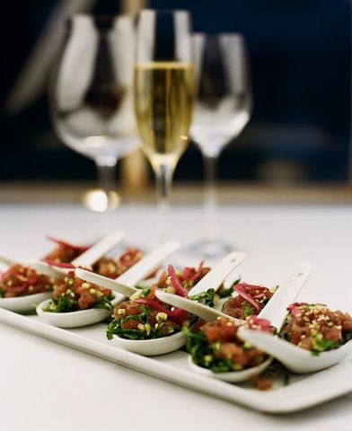Canapes presentation and spoons on pinterest for Canape buffet menus