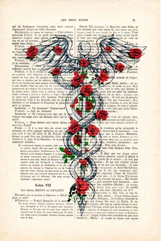 Caduceus Medical Symbol Vintage Anatomy Book Page Art Print Staff of Caduceus Rod of Asclepius