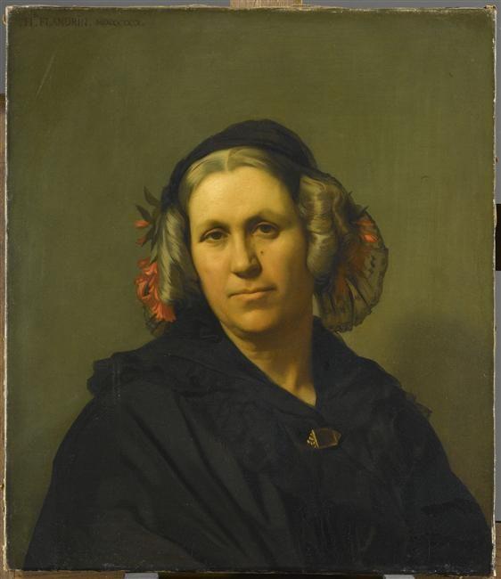 """Hippolyte Flandrin: """"Portrait de madame Vinet"""", 1840,  oil on canvas, DIMENSIONS: Height: 0.6 mLength: 0.52 m, Paris, musée du Louvre."""