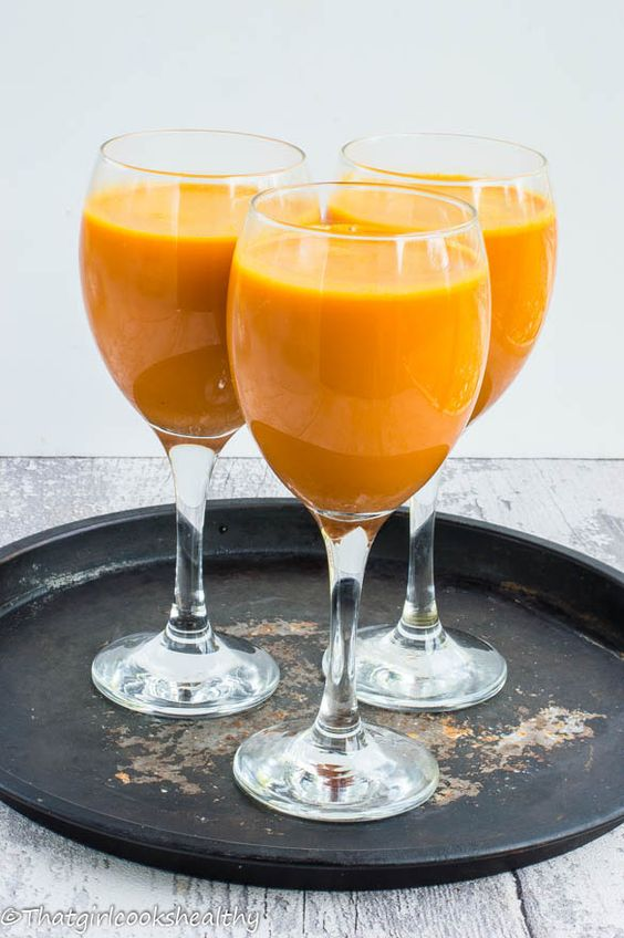 Jamaican carrot juice made using nutmeg, a hint of cinnamon, vanilla and condensed coconut milk.