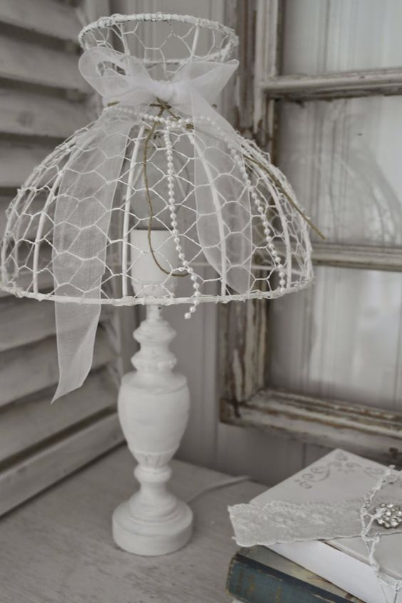 Lampshade made of chicken wire: