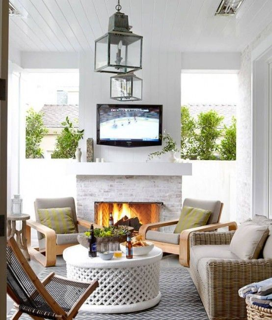 33 Awesome Summer Living Room Décor Ideas : 33 Awesome Summer Living Room Décor Ideas With Stone Fireplace And Grey Rattan Sofa And Glass La...