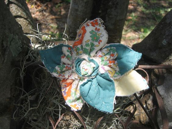 """Old, Quilt  Fabric flower Hand sewn,  5-"""". Shabby,   Pin, Chippy #Self"""